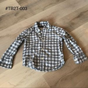 Carters Toddler Boys Gray Gingham Button Down - 2T